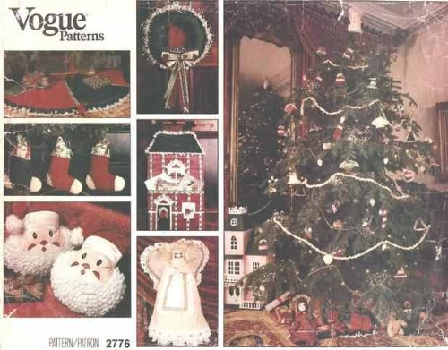 80's Vintage/Uncut VOGUE 2776 CHRISTMAS CRAFTS Sewing Pattern TREE SKIRT, WREATH, CARD DISPLAY HOLDER, SANTA PILLOW, STOCKINGS, BASKET & 10 ORNAMENTS