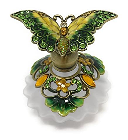 Bejeweled Green and Yellow Butterfly Perfume Bottle by Welforth, 2.25T - Butterfly Perfume Stopper Bottle