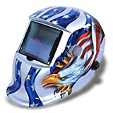Sun YOBA Pro Solar Powered Darkending Welding Helmet Welders Mask with Grinding Function Silver Eagle #7