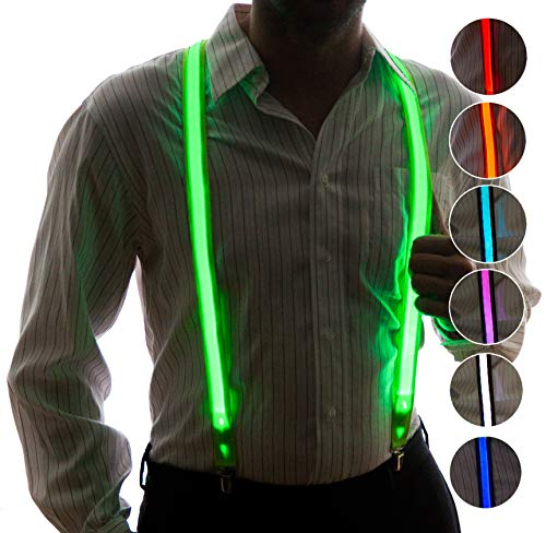 Light Up Suspenders for Men by Neon Nightlife | LED Suit | Novelty Festival Clothing | Neon Party Accessories | 7 Color Selection LED Battery Pack from NEON NIGHTLIFE