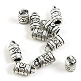 640 Pieces Antique Silver Tone Jewelry Making Charms Crafting Beading Craft 46627 Texture Bail Cord Ends Caps