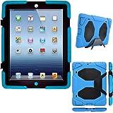 TECHGEAR® Apple iPad 4 3 2 Housse Coque Rigide, Très Haute Protection Anti-Choc Avec Support Amovible (BLEU)