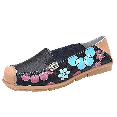 Hattie Women Casual Soft Leather Slip-on Loafers Flats for Walk Drive Black 5IxUVrU7B