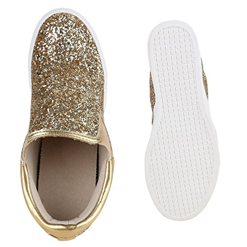 Stiefelparadies Damen Sneakers Glitzer Metallic Sneaker Wedges Slip Ons Zipper Prints Lack Schnürer Turnschuhe Keilabsatz Schuhe Leder-Optik Flandell Gold Weiss Glitzer