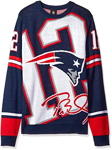 NFL New England Patriots Unisex Brady T. #12 Loud Player Sweater - Mens Double Extra Large, Xx-Large by Forever Collectibles