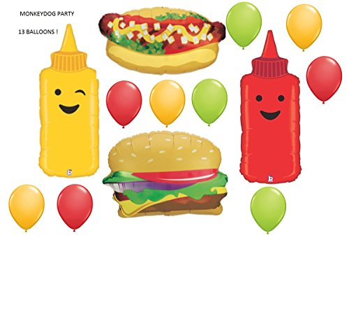 13pc BALLOON set BBQ barbecue HAMBURGER hotdog MUSTARD ketchup ANY OCCASION birthday REUNION retirement GIFT cookout COOKING class FAVORS