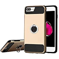 Asmyna Cell Phone Case for Apple IPhone 7 Plus - Gold/Black Carbon Fiber