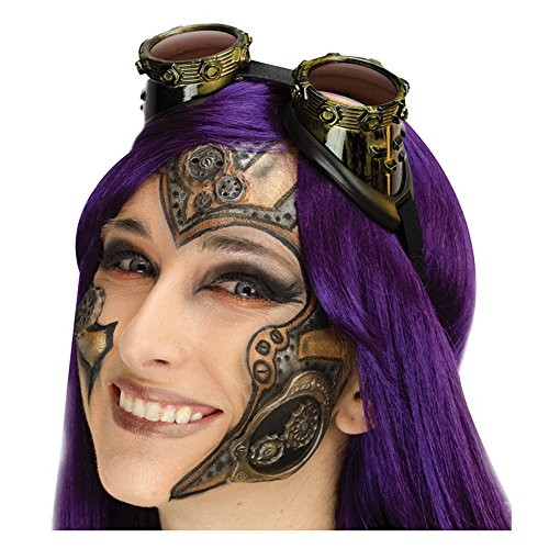 Steampunk Makeup (Deluxe Steampunk Gears Complete 9pc Makeup Kit, Green Bronze Silver)