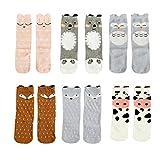 Bestjybt 6 Pairs Unisex Baby Girls Socks Knee High Socks Animal Baby Stockings