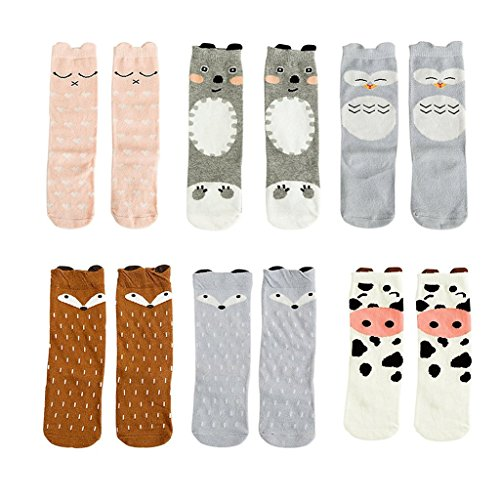 (Bestjybt 6 Pairs Unisex Baby Girls Socks Knee High Socks Animal Baby Stockings, S (0-12)