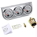 WennoW 2  Chrome Black Faced Mechanical Oil Pressure Water Voltage Triple Gauge Kit