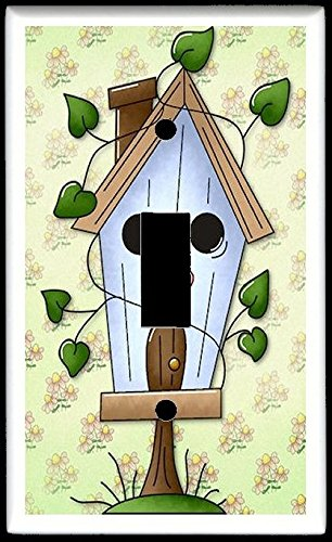 SINGLE TOGGLE LIGHT SWITCH PLATE - Design #004 Ivy Vine Birdhouse Bird House - An Ordinary Day Country