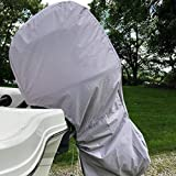 YHOUSE Full Outboard Boat Motor Cover, Waterproof UV Resistant Thick Polyester Fabric Outboard Motor Hood Up to 150 Horsepower