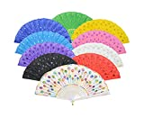 Lysa Peacock Folding Hand Held Fans Bulk for Women - Spanish/Chinese/Japanese Vintage Retro Fabric Fans (Colorful 10pcs)