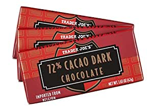 Trader Joe's 72% Cacao Belgian Dark Chocolate Bars (1 Pack of 3)