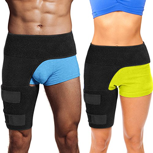 Hips Thighs - Hip Brace Thigh Compression Sleeve – Hamstring Compression Sleeve & Groin Compression Wrap for Hip Pain Relief. Support for Hip Replacements, Sciatica, Quad Muscle Strains Fits Both Legs Men & Women