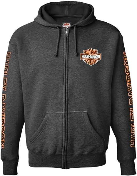 Gray Harley-Davidson Men/'s Bar /& Shield Logo Pullover Hooded Sweatshirt
