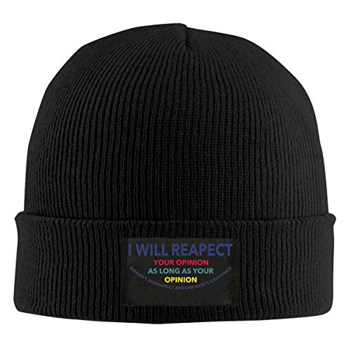 Good Wish Respect Self and Others Activities Men's and Women's Noble Knit Hat Black Warm Velour Lined