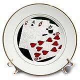 3dRose Alexis Photo-Art - Poker Hands - Poker Hands Full House Ace Ten - 8 inch Porcelain Plate (cp_270310_1)