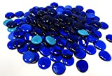 Large Glass Gems, 4.75 Lb. Bag, Various Shades of Blues, 35-38 mm, Opaque and Translucent Gems