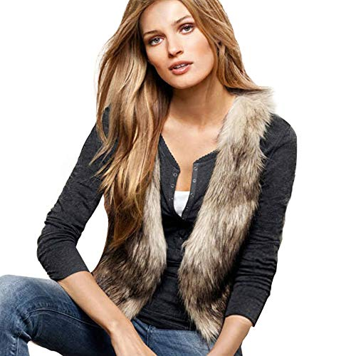 Dikoaina Fashion Women Faux Fur Waistcoat Short Vest Jacket Coat Sleeveless Outwear (S) -