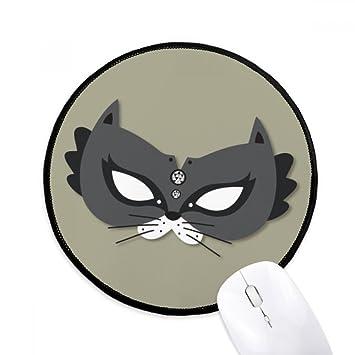 DIYthinker Máscara del gato negro feliz Carnaval De Venecia Ronda antideslizante tapetes de ratón negro Titched