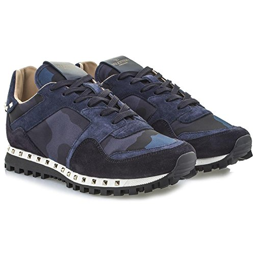 Valentino Men's Dark Blue, Navy Leather Fabric Sneakers Shoes - Size: 9 US
