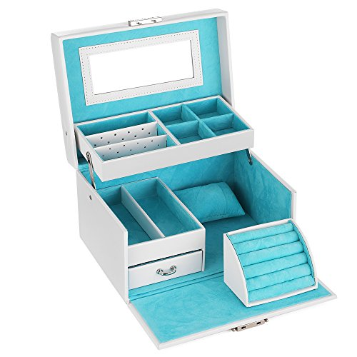 SONGMICS Girls Jewelry Box, Lockable Jewelry Organizer, Mirrored Storage Case, White UJBC114W