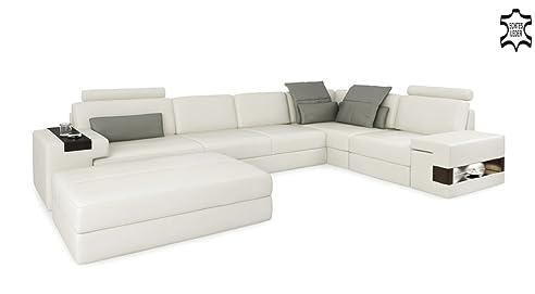 Ledersofa weiß  Ledersofa weiß / grau Wohnlandschaft Leder Sofa L-Form Eck Couch ...