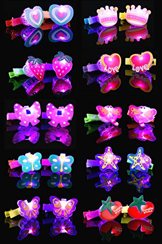 BAOQISHAN 20 Pieces Colorful LED Sparkle Plastic Cute and interesting Hair Bow Clips Barrettes Party accessories -