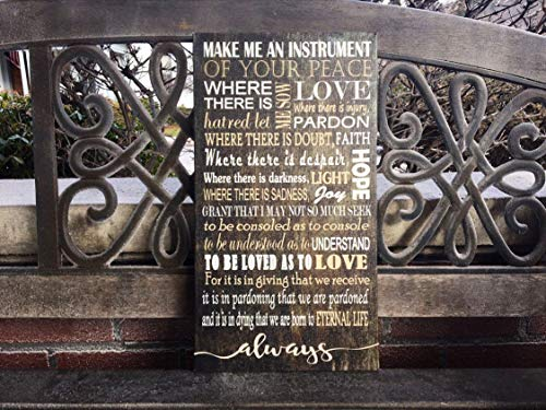 MosesMat41 Family Rules Prayer for Peace Custom Wood Plaque Inspirational Principles Christian House Rules Saint Francis Personalized Gift Love Quotes