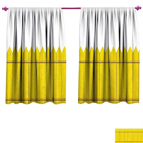 Yellow Blackout Window Curtain Colorful Wooden Picket Fence Design Suburban Community Rural Parts of Country Customized Curtains W55 x L45 Yellow Mustard