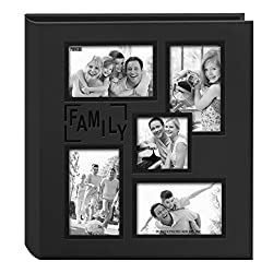 "Pioneer Collage Frame Embossed ""Family"" Sewn Leatherette Cover 240 Pocket Photo Album, Black"