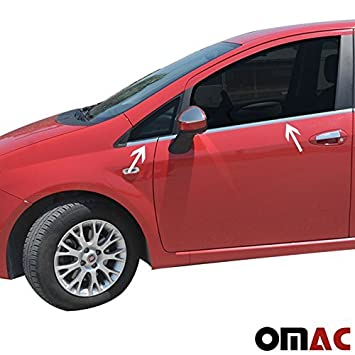 Chrome Window Bars 4-Piece Stainless Steel Sports Silencer FIAT Punto / Grande Punto Evo 3 Door COUPE): Amazon.co.uk: Car & Motorbike