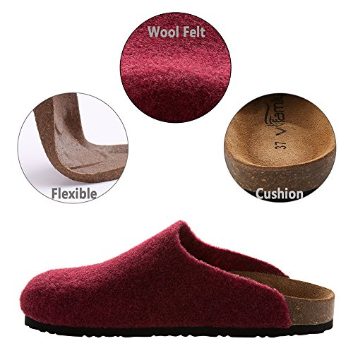 VVFamily Womens Slippers Clogs House For Girls Home Slip ONS Sandals by, Black/Grey/Beige/Wine Red Crimson Red