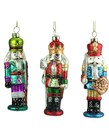9556254306 Set of 3 Hand Painted Glass Nutcracker Soldier Christmas Decorations (12cm)