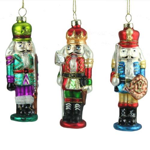 Gisela Graham @ Christmas Direct in vetro decorato a mano Set di 3 decorazioni natalizie a forma di Principe Schiaccianoci 12 cm
