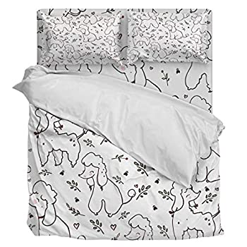 Image of Aiesther Bedding Set Duvet Cover 4 Piece Simple Design Poodle with Plant Soft Twill Plush Quilt Cover, Include 1 Duvet Cover 1 Flat Sheet and 2 Pillow, for Adults Children Boys Girls King Home and Kitchen