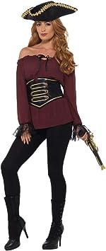 Camisa de Pirata para Dama / Burdeos en Talla L (ES 44/46) / Parte Superior de Atuendo de Pirata para Mujer carnavales y Festivales: Amazon.es: Juguetes y juegos