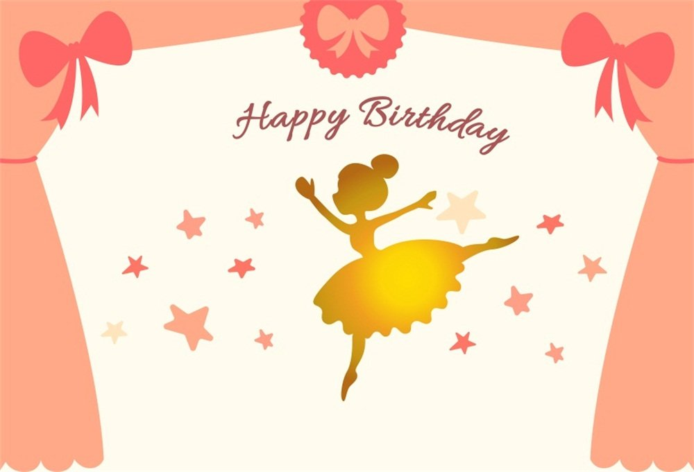 LFEEY 7x5フィート ピンクカーテン 星 背景 可愛い ダンシング 小さな女の子 誕生日 ケーキ スマッシュ パーティー 背景 壁紙 ポスター 写真スタジオ小道具   B07F2H6HMB