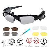 Wireless Sunglasses,WONFAST Bluetooth Sunglasses Music Handfree Headset Headphones for iPhone 7/7 plus Samsung Bluetooth devices + Free Replaceable 3 Pair Lens (Yellow,Brown,Clear) (N-Black)