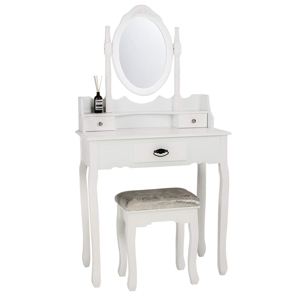 Illuminer La Maison Dressing Table with Stool an Oval Mirror and Jacquard Floral Stool Set Bedroom Furniture 137cm * 75cm * 40cm White (3 Drawer 1 Mirror and Stool)