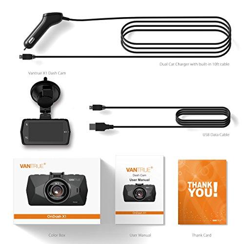 Vantrue X1 Car Dash Cam - Full HD 1080P 1920x1080 Dash Cam 170° Wide Angle 2.7