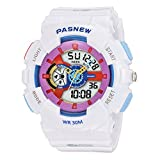 Super Cool 7 Colors Lights 100 Feet Waterproof Sports Wrist Watches for Girls White
