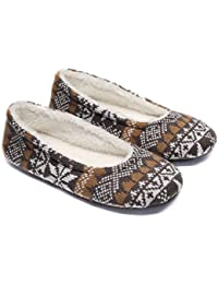 Women's Ballerina Slippers,Woman Indoor House Shoes,Soft Warm Velvet Lined Snowflake Knit Patterns