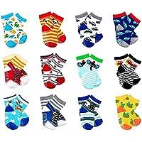 LGNTXDC 12 Pair Unisex Toddler Anti-Slip Socks, 3 to 5 Years Old Baby Infants Kids Comforatble Sock Cute Design Curious…