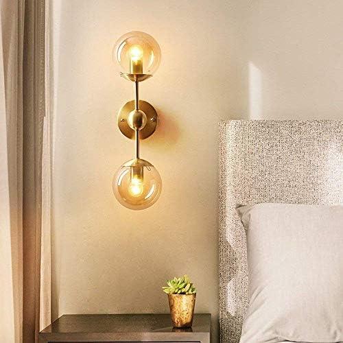 壁取り付け用燭台 銅クリエイティブ壁ランプガラスの壁ランプ近代的なミニマリストのファッション人格リビングルームランプベッドルームバルコニー(サイズ:双頭)暖かいです