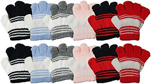 (12 Pairs Baby Winter Magic Gloves for Toddlers, Stretchy Warm Bulk Pack Boys Girls Children (Assorted))