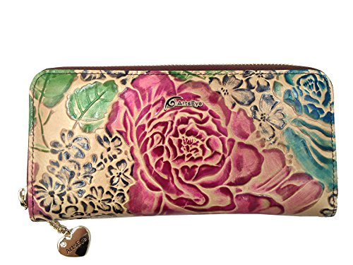 Flower Hand Painted Leather Wallet - 4