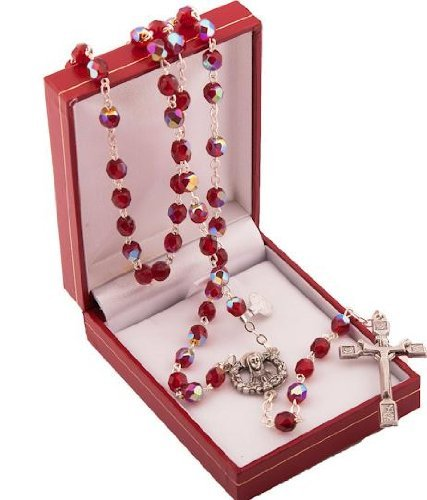 (Ruby Rosary Beads. Red Rosary Beads. Rosary Beads in Gift Presentation Case. Gift Rosaries. Christ is Risen Cross. Metal crucifix and Our Lady centre piece. by Rosary)